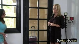 Adrianna Luna hard strap on fucked by lesbian blonde