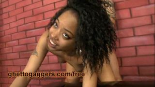 Petite Black Ho Fucked By Two White Guys